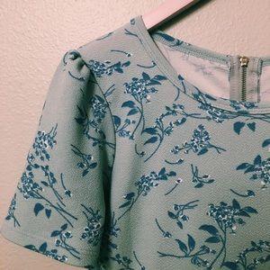 BLUE FLORAL VINTAGE PRINT A-LINE DRESS